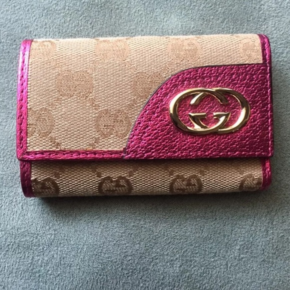 Gucci Bags   Authentic Pink Logo Key Fob Wallet   Poshmark 5109d193bf